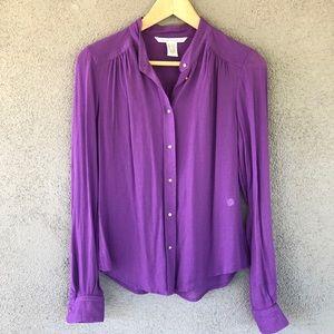 DVF Purple Glys Cotton Mandarin Collar Blouse Sz 8